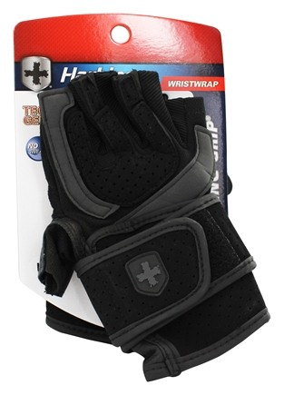 DROPPED: Harbinger - Training Grip WristWrap Lifting Gloves - Large Black/Gray - 1 Pair