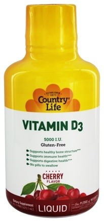 Country Life - Liquid Vitamin D3 Delicious Cherry Flavor 5000 IU - 16 oz.