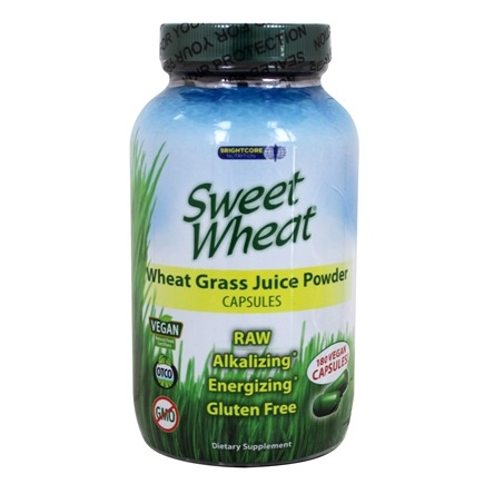 Brightcore Nutrition - Sweet Wheat Organic Wheat Grass Juice Powder - 180 Vegetarian Capsules