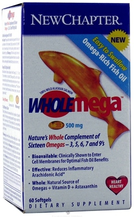 DROPPED: New Chapter - WholeMega Omega Rich Fish Oil 500 mg. - 60 Softgels CLEARANCE PRICED
