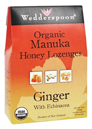 DROPPED: Wedderspoon Organic - Organic Manuka Honey Lozenges Ginger With Echinacea - 4 oz.