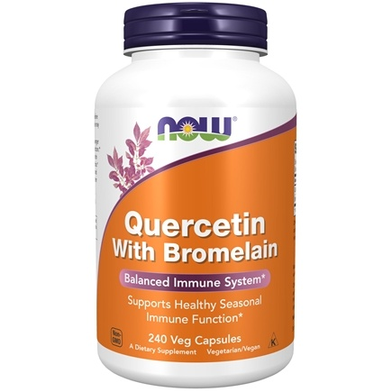 NOW Foods - Quercetin With Bromelain - 240 Vegetarian Capsules