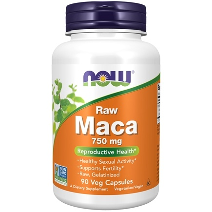 NOW Foods - Raw Maca High Potency 750 mg. - 90 Vegetarian Capsules