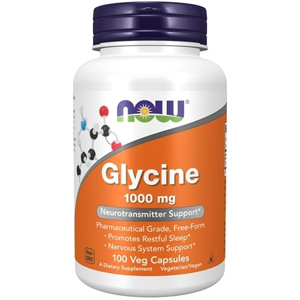NOW Foods - Glycine Pharmaceutical Grade Amino Acid 1000 mg. - 100 Capsules