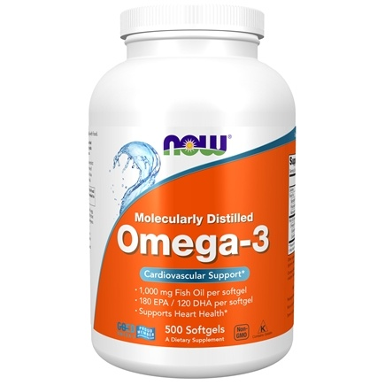 NOW Foods - Omega-3 Molecularly Distilled Fish Oil - 500 Softgels