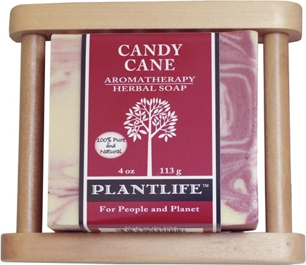 DROPPED: Plantlife Natural Body Care - Herbal Soap Candy Cane with Bonus Wood Dish - 1 Gift Set CLEARANCE PRICED