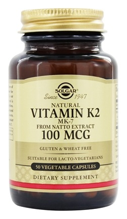Solgar - Natural Vitamin K2 MK-7 From Natto Extract 100 mcg. - 50 Vegetarian Capsules