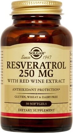 DROPPED: Solgar - Resveratrol With Red Wine Extract 250 mg. - 30 Softgels CLEARANCE PRICED