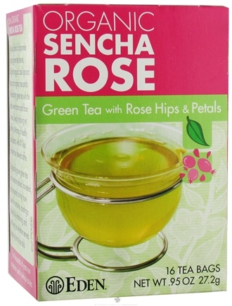 DROPPED: Eden Foods - Organic Sencha Rose Green Tea with Rose Hips & Petals - 16 Tea Bags