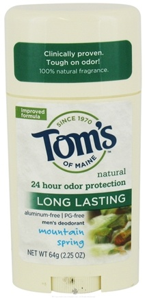 DROPPED: Tom's of Maine - Natural Deodorant Stick Men's Long-Lasting Mountain Spring - 2.25 oz. CLEARANCE PRICED