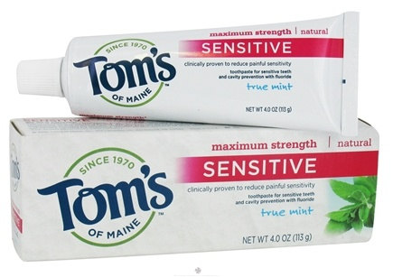 DROPPED: Tom's of Maine - Natural Toothpaste Sensitive Maximum Strength With Fluoride True Mint - 4 oz. CLEARANCE PRICED