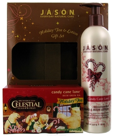 DROPPED: Jason Natural Products - Holiday Tea & Lotion Gift Set Candy Cane Lane - CLEARANCE PRICED