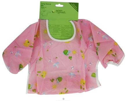 DROPPED: Green Sprouts - Long Sleeve Toddler Bib 12-24 Months Pink