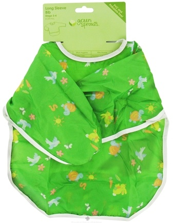 DROPPED: Green Sprouts - Long Sleeve Toddler Bib 6-24 Months Green - CLEARANCE PRICED