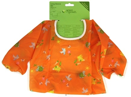 DROPPED: Green Sprouts - Long Sleeve Toddler Bib 12-24 Months Orange - CLEARANCE PRICED