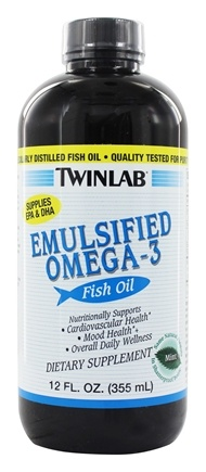 Twinlab - Emulsified Omega-3 Fish Oil Mint Flavored - 12 oz. LUCKY PRICE