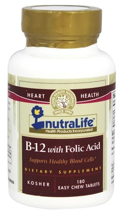 Nutralife - B-12 with Folic Acid - 180 Tablets