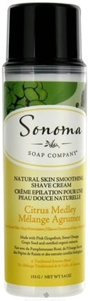 DROPPED: Sonoma Soap - Natural Skin Smoothing Shave Cream Citrus Medley - 5.4 oz. CLEARANCE PRICED