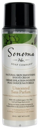 DROPPED: Sonoma Soap - Natural Skin Smoothing Shave Cream Unscented - 5.4 oz. CLEARANCE PRICED