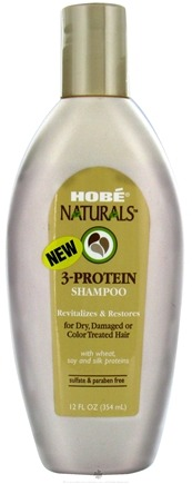 DROPPED: Hobe Labs - 3-Protein Shampoo For Dry Damaged or Color Treated Hair - 12 oz. CLEARANCE PRICED