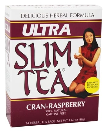 Hobe Labs - Ultra Slim Tea 100% Natural Caffeine Free Cran-Raspberry - 24 Tea Bags