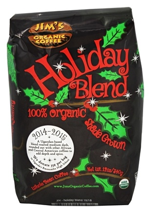 DROPPED: Jim's Organic Coffee - Medium Heavy Roast Holiday Blend - 12 oz. CLEARANCE PRICED