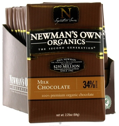 DROPPED: Newman's Own Organics - Chocolate Bar 34% Milk - 2.25 oz. CLEARANCE PRICED