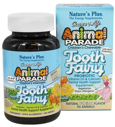 Nature's Plus - Animal Parade Tooth Fairy Children's Probiotic Natural Vanilla Flavor - 90 Chewable Tablets