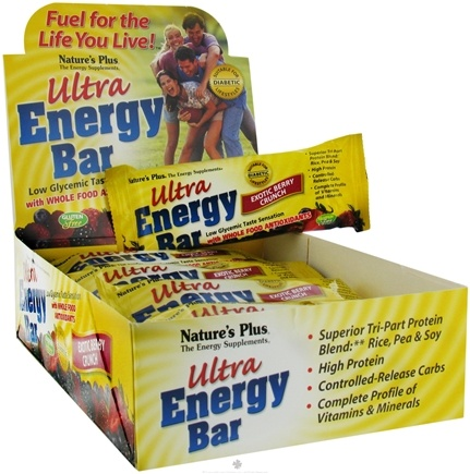 DROPPED: Nature's Plus - Ultra Energy Bar With Whole Food Antioxidants Exotic Berry Crunch - 2.1 oz. CLEARANCE PRICED