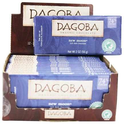 Dagoba Organic Chocolate - Dark Chocolate Bar 74% Cacao Rich New Moon - 2 oz.