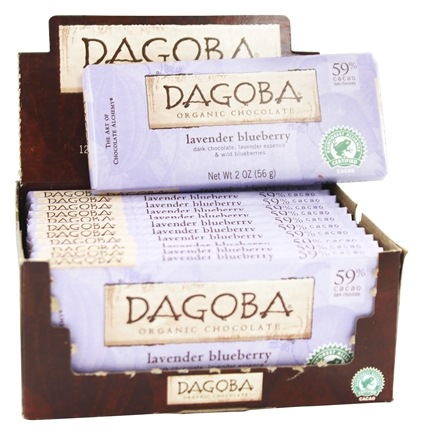 Dagoba Organic Chocolate - Dark Chocolate Bar 59% Cacao Lavender Blueberry - 2 oz.