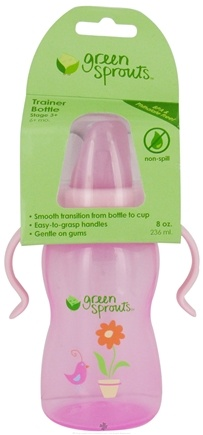 DROPPED: Green Sprouts - Non-Spill Trainer Bottle 6 Months Stage 3 Rose Pink - 8 oz. CLEARANCE PRICED