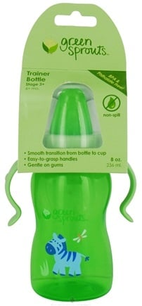 DROPPED: Green Sprouts - Non-Spill Trainer Bottle 6 Months Stage 3 Sage Green - 8 oz. CLEARANCE PRICED