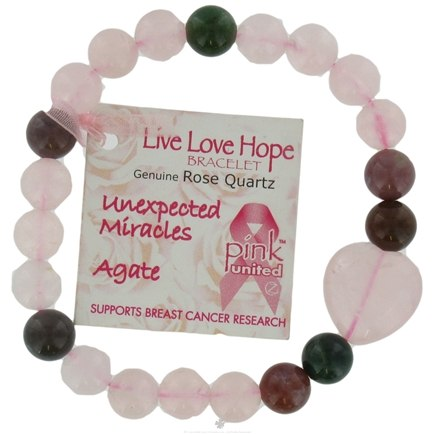 DROPPED: Zorbitz - Live Love Hope Genuine Rose Quartz Bracelet Unexpected Miracles Agate - CLEARANCE PRICED