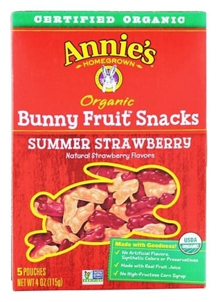 DROPPED: Annie's Homegrown - Organic Bunny Fruit Snacks Strawberry - 4 oz.