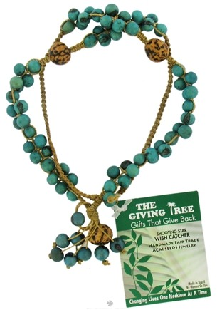 DROPPED: Zorbitz - The Giving Tree Lucky Acai Seeds Shooting Star Wish Catcher Necklace Turquoise - CLEARANCE PRICED