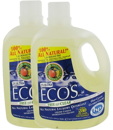 DROPPED: Earth Friendly - ECOS Laundry Detergent All Natural 2X Ultra Free & Clear Twin Pack