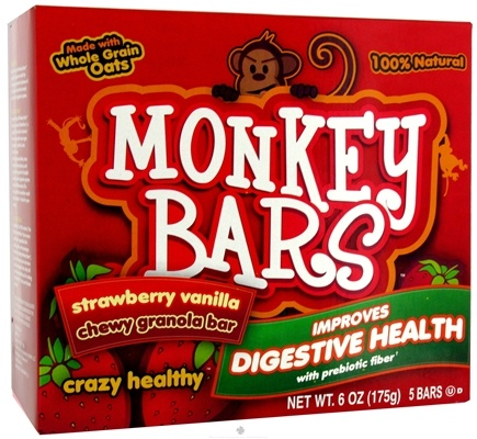 DROPPED: Monkey Brains - Prebiotic Granola Bar Strawberry Vanilla - 5 x 1.2 oz. Bars