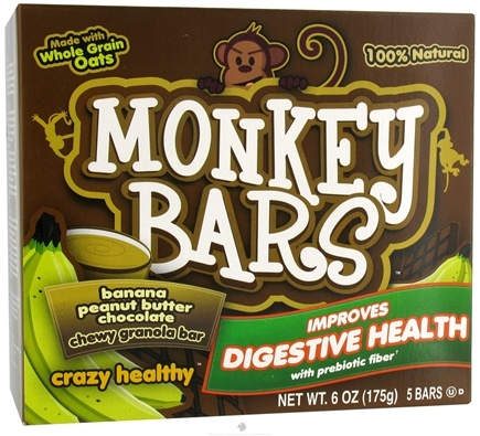 DROPPED: Monkey Brains - Prebiotic Granola Bar Banana Peanut Butter Chocolate - 5 x 1.2 oz. Bars