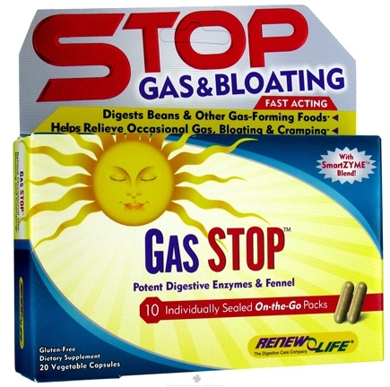DROPPED: ReNew Life - Gas Stop On-The-Go Pack - 20 Vegetarian Capsules CLEARANCE PRICED