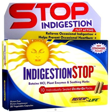 DROPPED: ReNew Life - Indigestion Stop On-The-Go Pack - 20 Vegetarian Capsules CLEARANCE PRICED