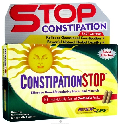 DROPPED: ReNew Life - Constipation Stop On-The-Go Pack - 20 Vegetarian Capsules