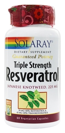 Solaray - Guaranteed Potency Resveratrol Japanese Knotweed Triple Strength 225 mg. - 60 Vegetarian Capsules