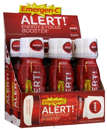 DROPPED: Alacer - Emergen-C Alert Energy & Focus Booster 6 x 2.5 oz. Shot Bottles Berry