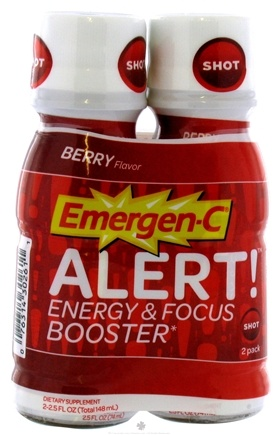 DROPPED: Alacer - Emergen-C Alert Energy & Focus Booster 2 x 2.5 oz. Shot Bottles Berry - CLEARANCE PRICED