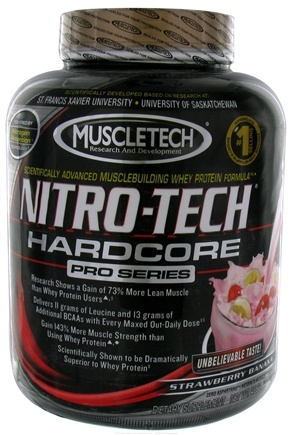 DROPPED: Muscletech Products - Nitro-Tech Hardcore Pro Series Strawberry Banana - 4 lbs. CLEARANCE PRICED