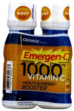 DROPPED: Alacer - Emergen-C Vitamin C Health & Energy Booster 2 x 2.5 oz. Shot Bottles Orange 1000 mg. - CLEARANCE PRICED
