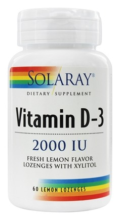 Solaray - Vitamin D-3 With Xylitol Fresh Lemon Flavor 2000 IU - 60 Lozenges