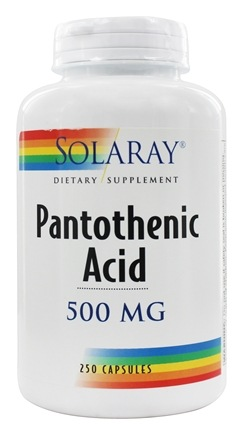 Solaray - Pantothenic Acid 500 mg. - 250 Capsules