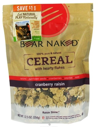 DROPPED: Bear Naked - Cereal 100% Pure & Natural with Hearty Flakes Cranberry Raisin - 12.5 oz.